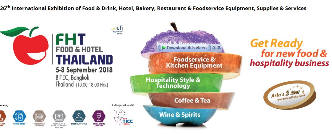 PAC will be present at Food & Hotel THAILAND 2018 from 5-8 September 2018